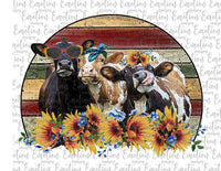 Sunflower Cows Watercolor Farm Life