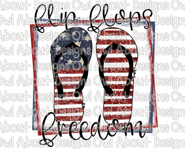 4th of July Patriotic Flip Flops