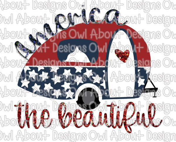 4th of July Patriotic Camper Trailer America