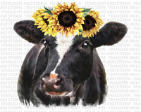 Sunflower Cow Watercolor Farm Life
