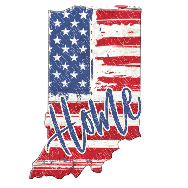 Indiana State Home Red White and Blue