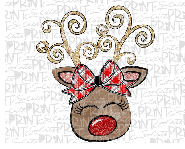 Reindeer Bow Red Nose Christmas