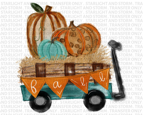Fall Pumpkin Wagon Mint Leopard