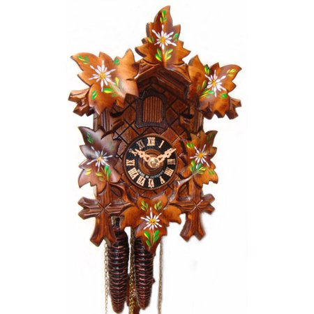 1 Day Cuckoo Clock With Painted Edelweiss Flowers