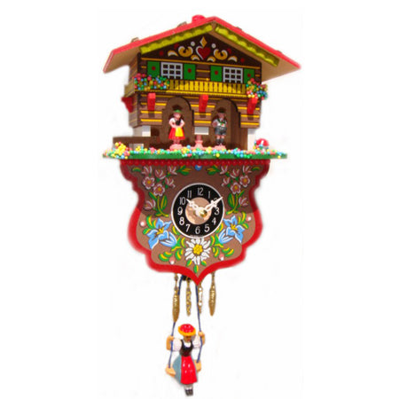 Swinging Girl Clock With Cuckoo Westminster Chime