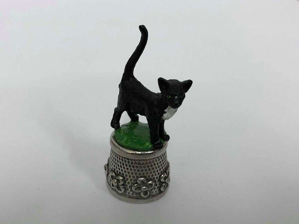 Cat Pewter Thimble