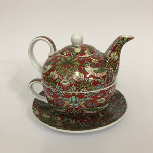 Strawberry Thief Teapot, mug & saucer