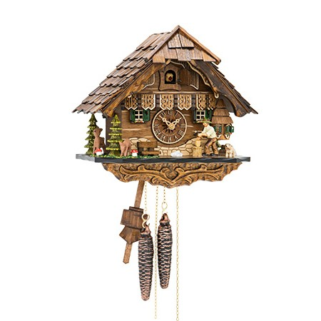 1 Day Chalet Cuckoo Clock With Protuding Window And Wood Chopper