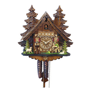 Filagree Chalet Cuckoo Clock With Wanderer