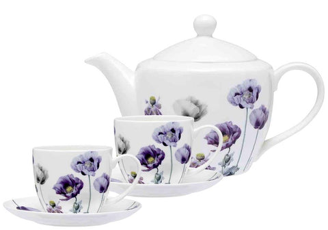 Ashdene Purple Poppies Teapot & 2 teacup set