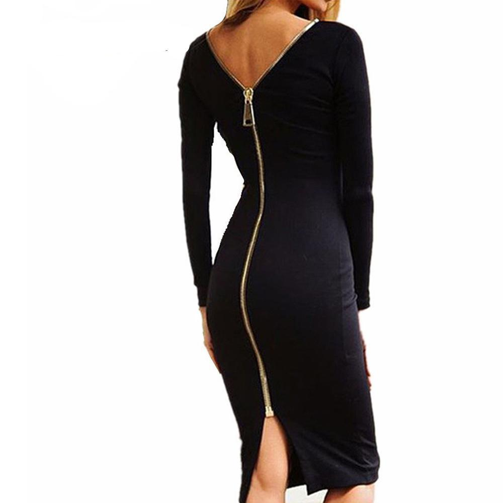 Alexia Zip-Up Bodycon Dress - Shusha chic