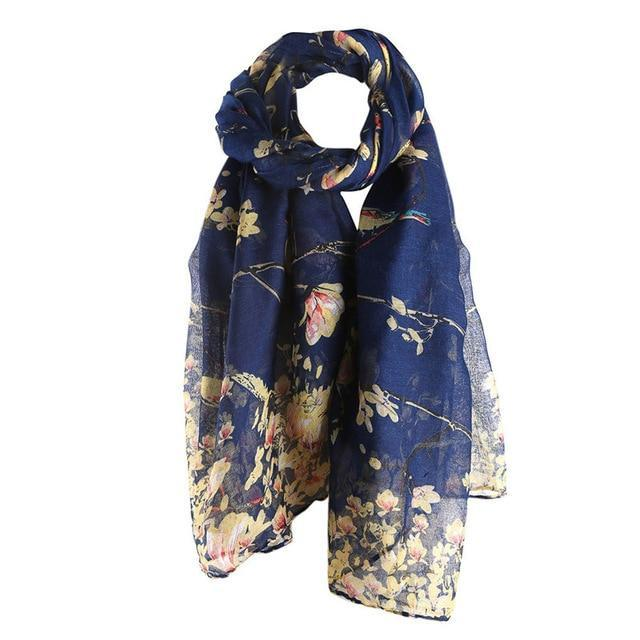 Cotton Floral Bird Printed Elegant Scarf - Shusha chic