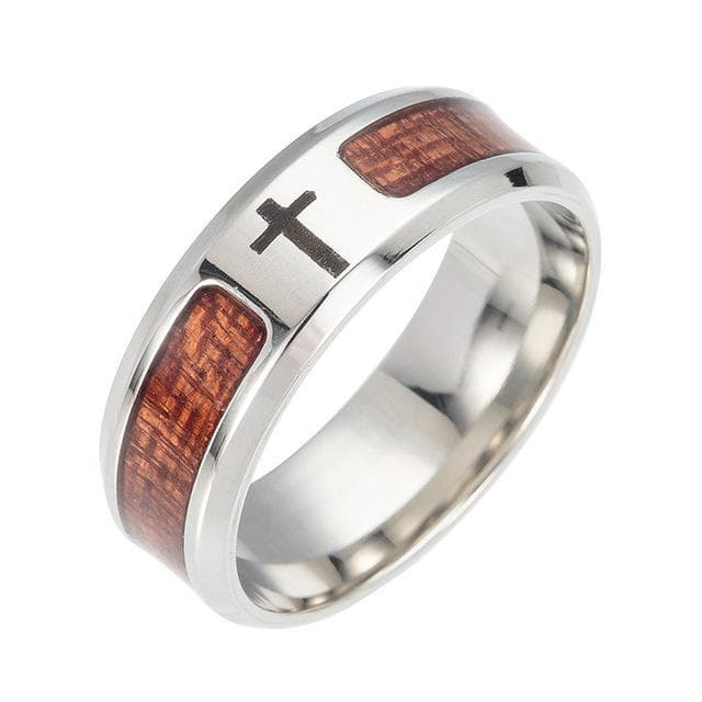 Stainless Steel Black Wood Rings For Men