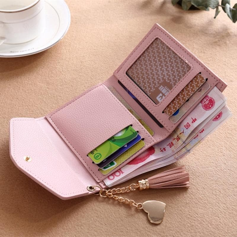 Heart Tassel Small Leather Wallet