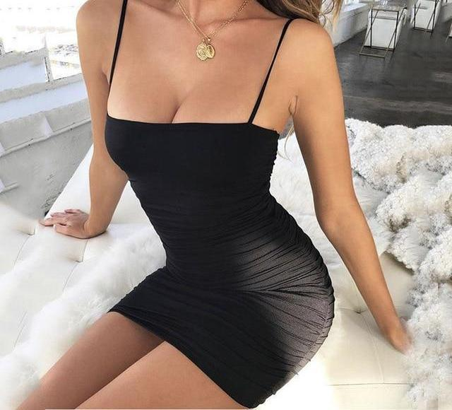 Articat Black Sexy Bodycon Summer Dress 2018 Strapless Spaghetti Strap Bandage Mini Dress Party Casual Basic Beach Dress Short - Shusha chic