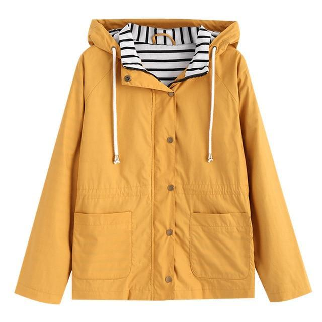 Nicole Stripe Panel Hooded Jacket