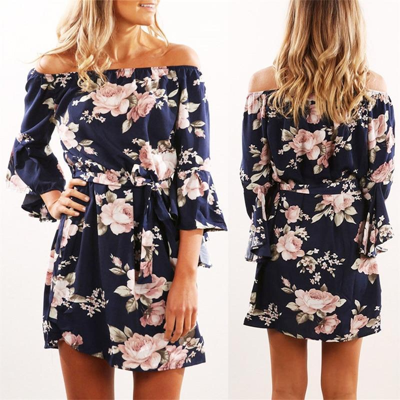 Floral Print Chiffon Dress - Shusha chic