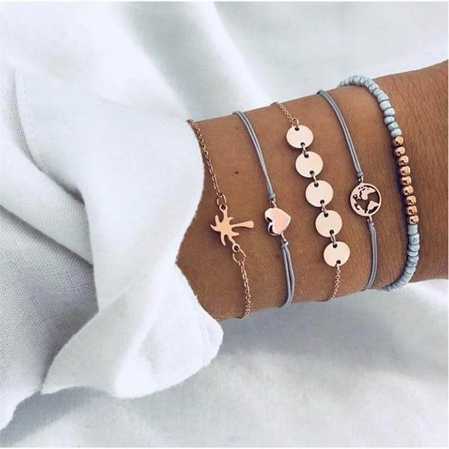 Multilayer Adjustable Open Bracelet Set