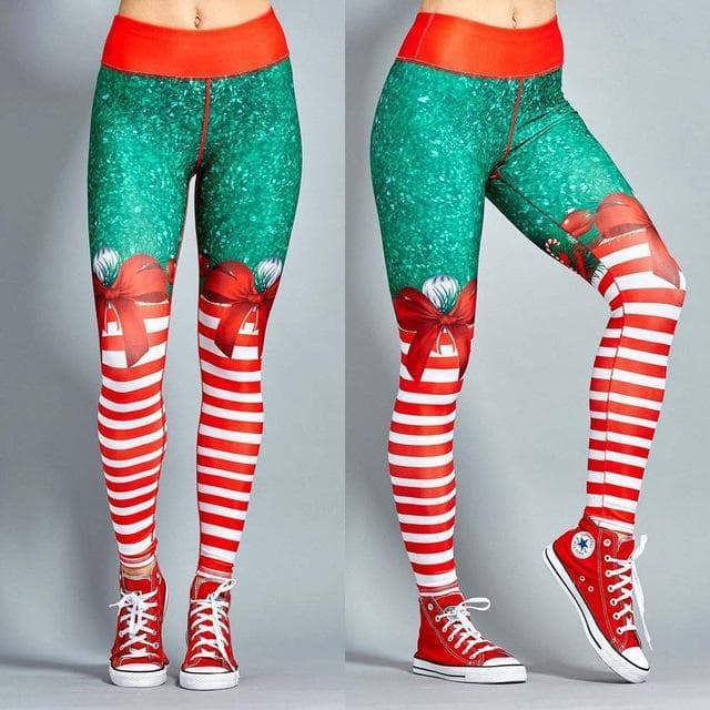 X-mas Printed Striped Leggings