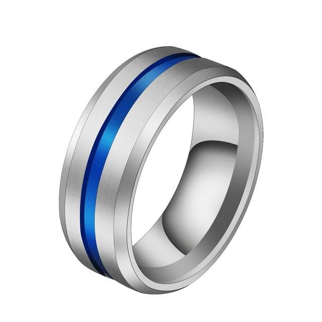 Black Blue Stainless Steel Midi Rings For Men
