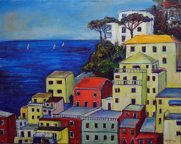 Seascape Oil Painting PORTOFINO ITALY Art 30x24 by BenWill