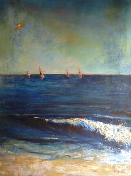 Ocean SEASCAPE Original Oil Painting Large Surf Beach SAILBOATS Blue 48x36 by BenWill