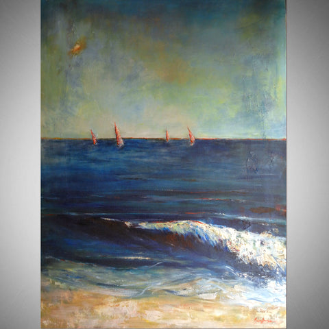 Beach Surf and Sailboats 48x36