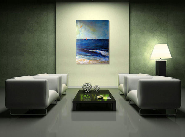 Office Art Abstract Surf Sailboats Painting - BenWill