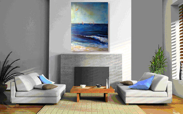 Wall Art Abstract Surf Sailboats Painting - BenWill