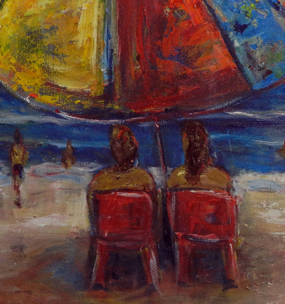 BenWill Art - Original Painting Beach Umbrella Ocean
