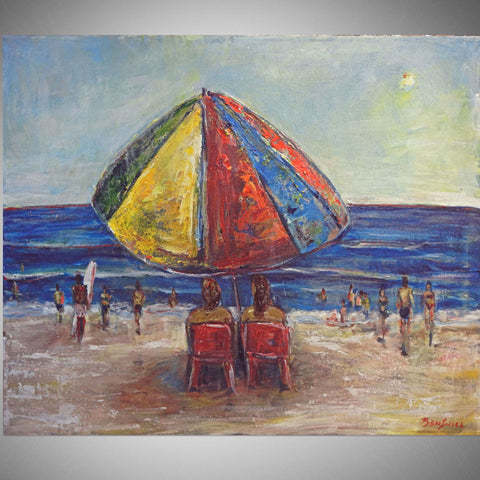 BenWill Art - Original Painting Beach Umbrella