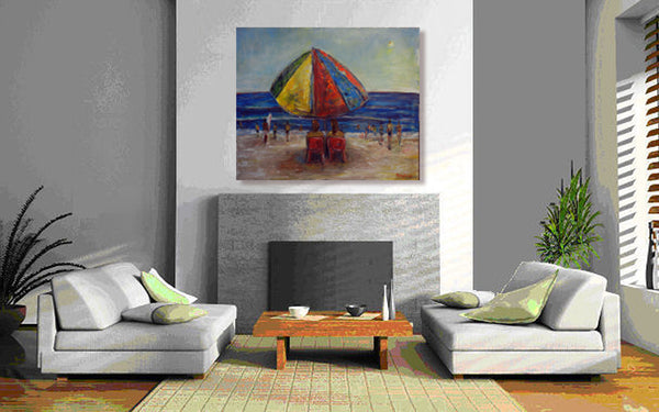 BenWill Art - Original Painting Beach Umbrella home decor