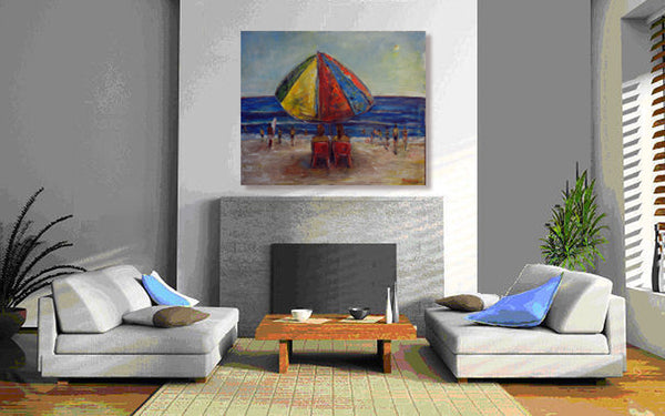 BenWill Art - Original Painting Beach Umbrella office decor