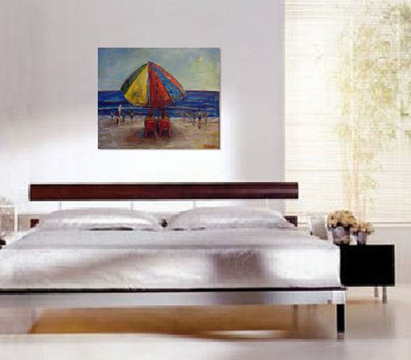 BenWill Art - Original Painting Beach Umbrella bedroom decor