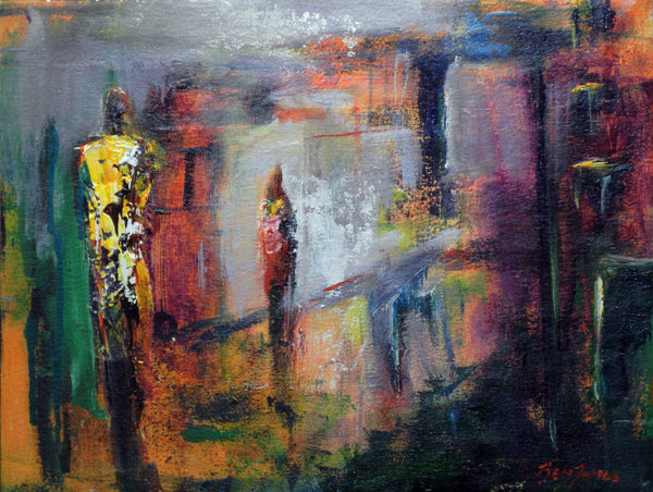 ORIGINAL Abstract Painting Figure Art - 18x14 Interactions art by BenWill