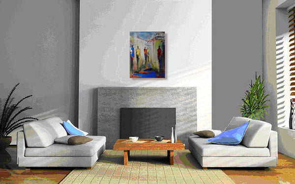 ORIGINAL Abstract Art Painting Figures - Interactions 24x18 by BenWill