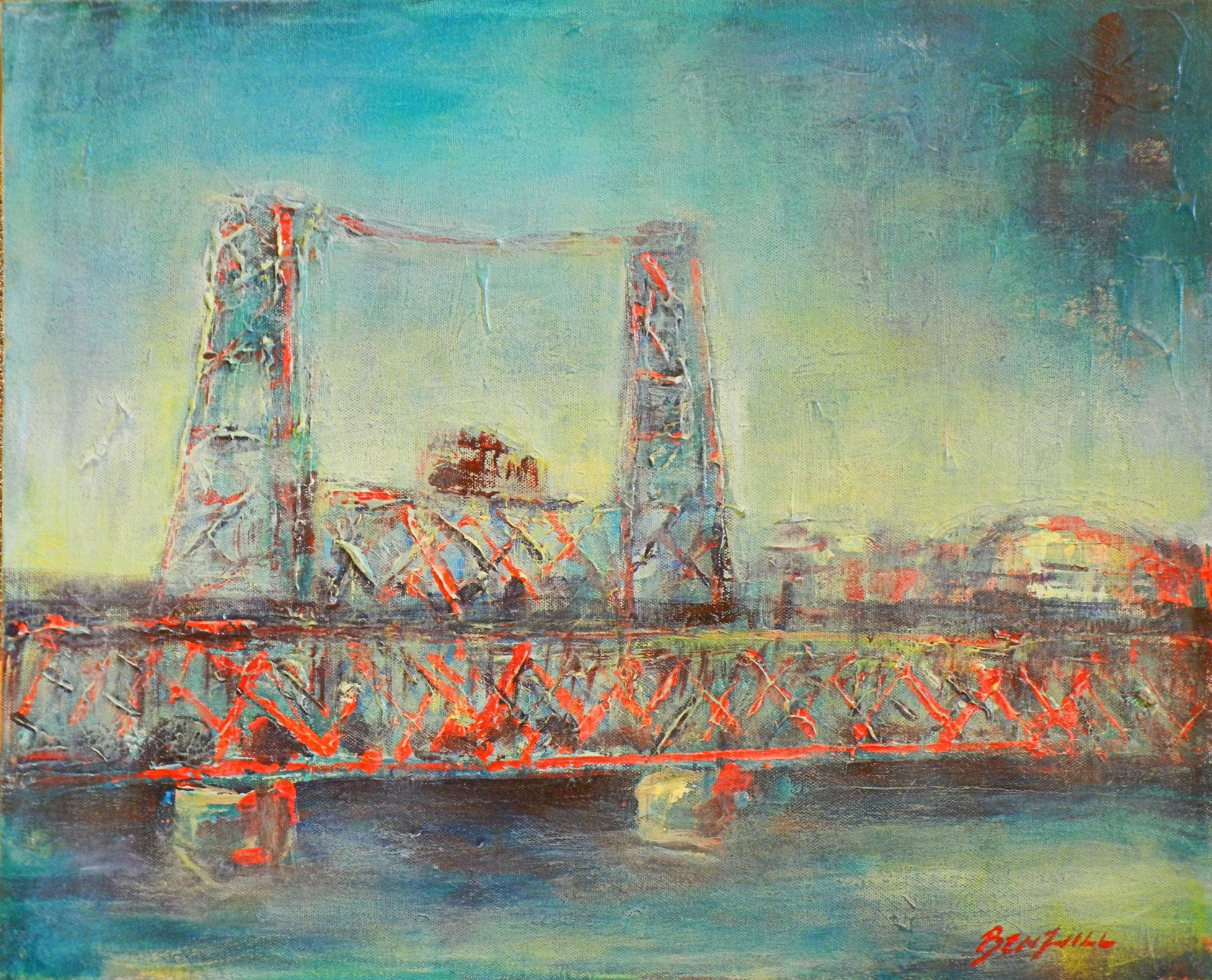 Portland Steel Bridge PDX Original Painting 20x16 Artwork by BenWill