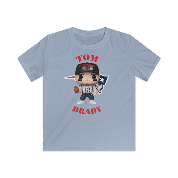Tom Brady New England Patriots Superbowl, Kids Gildan Softstyle Tee Shirt