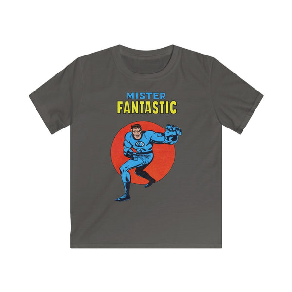 Mister Fantastic Kids Retro Marvel Tee Shirt. Gildan Softstyle Tee Shirt With Long Lasting Print.