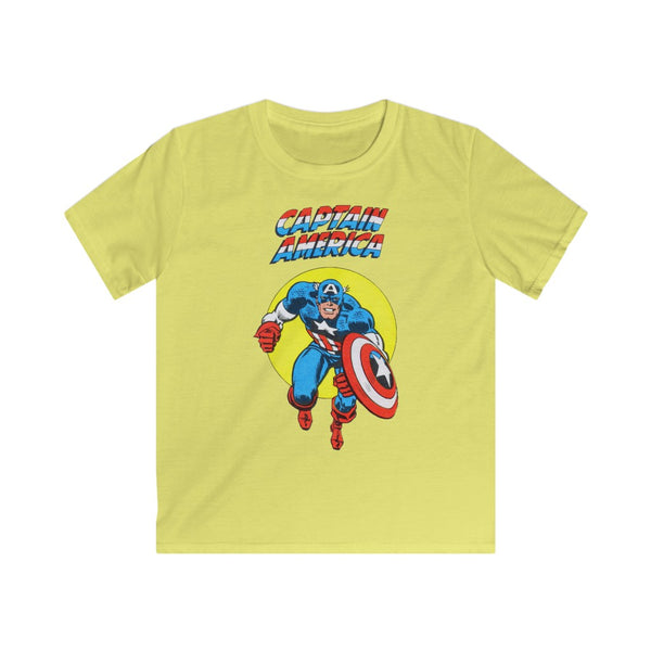 Captain America Kids Retro Marvel Tee Shirt. Gildan Softstyle Tee Shirt With Long Lasting Print.