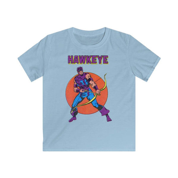 Hawkeye Kids Retro Marvel Tee Shirt. Gildan Softstyle Tee Shirt With Long Lasting Print.