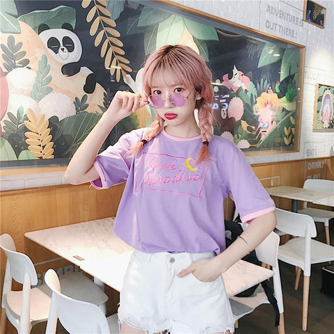 T-Shirt Kawaii Fille Paradis Rose | Village Kawaii