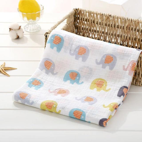 Baby Organic Muslin Wrap - Elephants - Our Baby Nursery