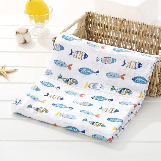 Baby Organic Muslin Wrap - Fish - Our Baby Nursery