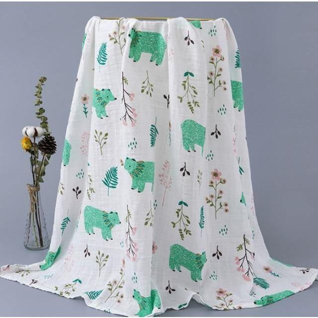Baby Organic Muslin Wrap - Green Bears - Our Baby Nursery