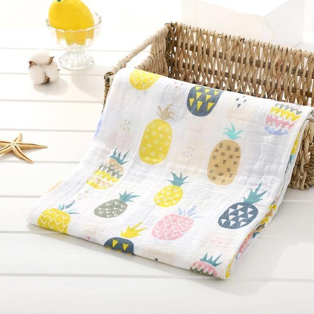 Baby Organic Muslin Wrap - Pineapples - Our Baby Nursery