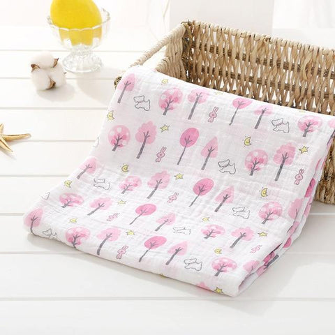 Baby Organic Muslin Wrap - Pink Trees - Our Baby Nursery