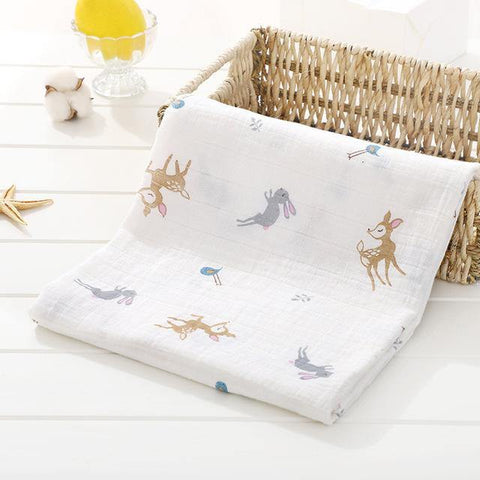 Baby Organic Muslin Wrap - Rabbits - Our Baby Nursery