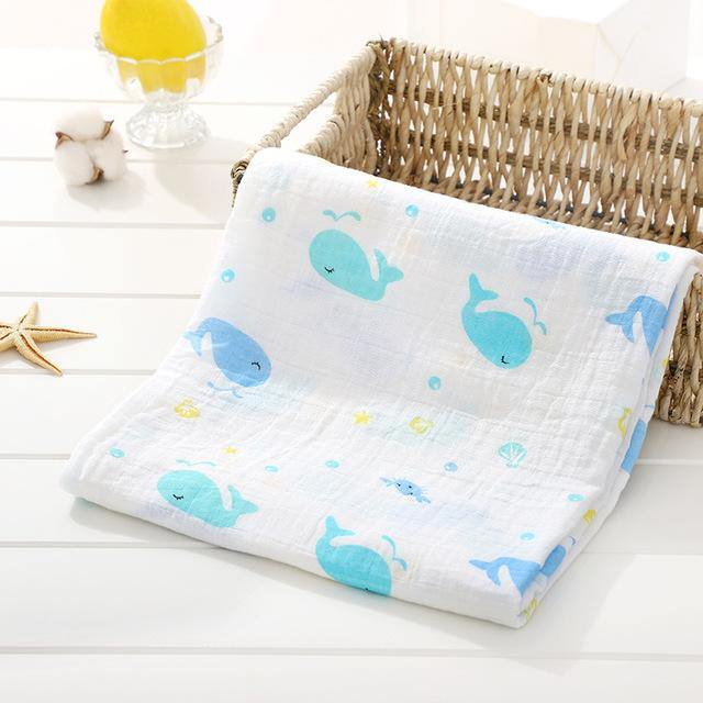 Baby Organic Muslin Wrap - Whales - Our Baby Nursery
