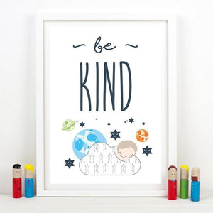 Be Brave & Be Kind Quotes Space Themed Wall Art - Our Baby Nursery
